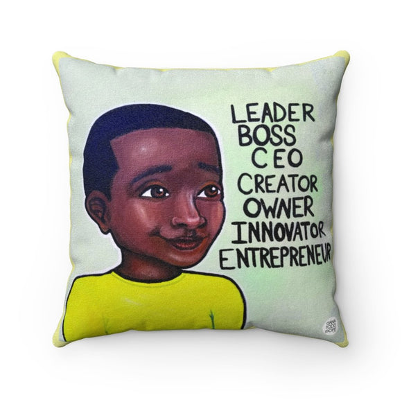 L.B.C. II (Boy) Square Pillow - Fearlessly Hue by Dana Todd Pope