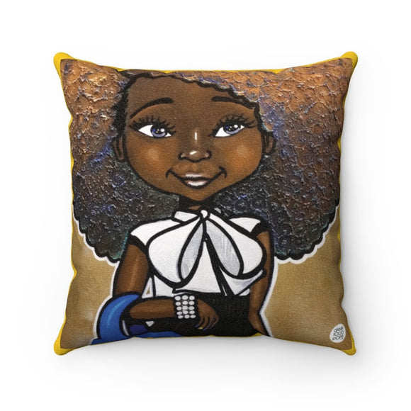 Fashionista (Blue & Gold) Square Pillow - Fearlessly Hue by Dana Todd Pope