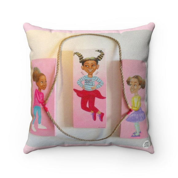 Jumping to Higher Heights Square Pillow - Fearlessly Hue by Dana Todd Pope