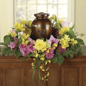 Memorial Urn Arrangement - Cabbage Rose