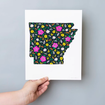 """Arkansas the Natural State"" Art Print - Cabbage Rose"