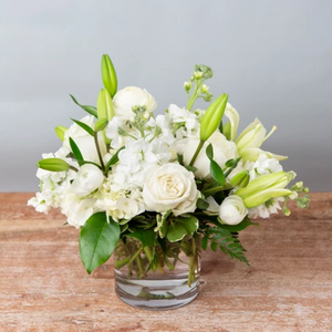 All White Vase Seasonal - Cabbage Rose