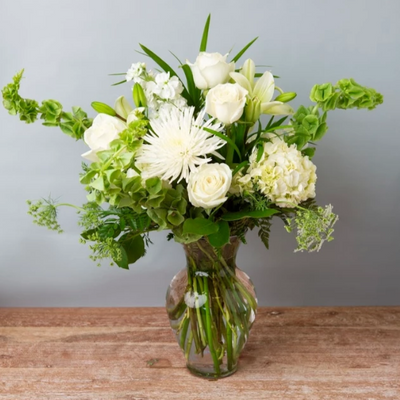 Sympathy Vase Arrangement - Cabbage Rose