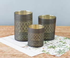 Black & Gold Container Set - Cabbage Rose