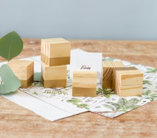 Solid Wood Place Card Holder - Cabbage Rose