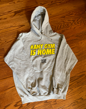 Load image into Gallery viewer, BCLSFW195: #AnyGymIsHome Hoodie - Heather Gray / Yellow