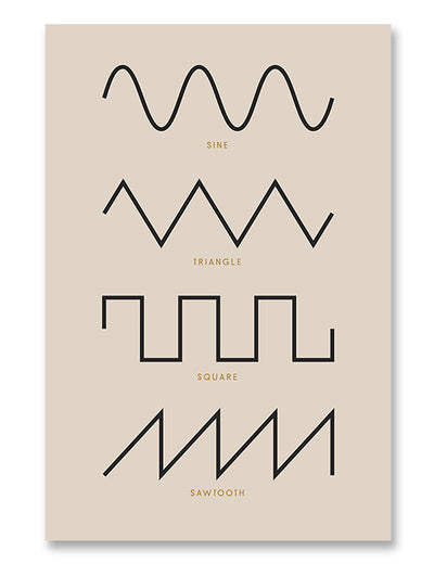 Synthesizer Waveforms Poster Cream