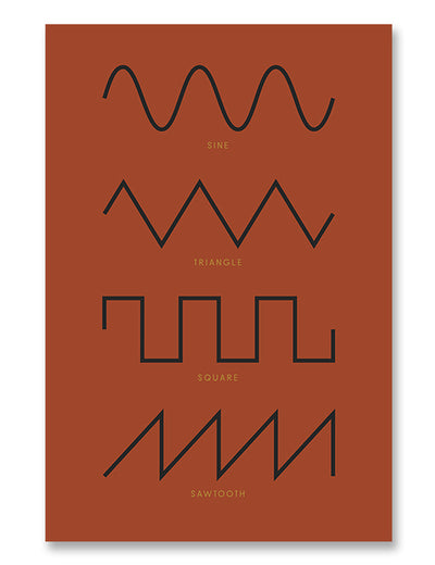 Synthesizer Waveforms Poster Red