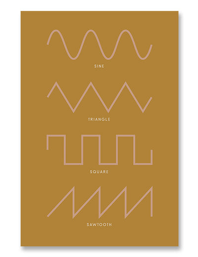 Synthesizer Waveforms Poster Yellow