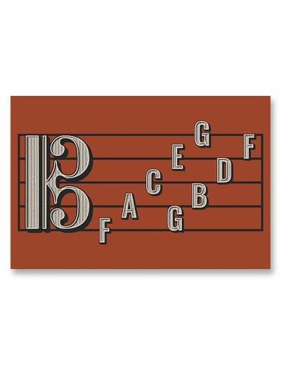 Alto Clef Staff Note Names Poster Red