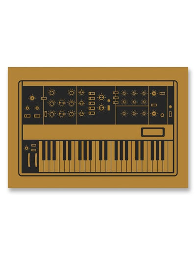 Moog Minimoog Synthesizer Poster Yellow