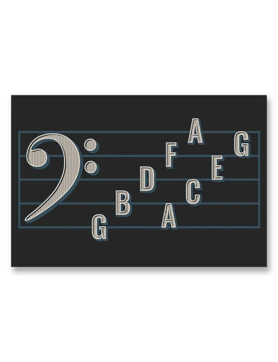 Bass Clef Note Names Poster Black