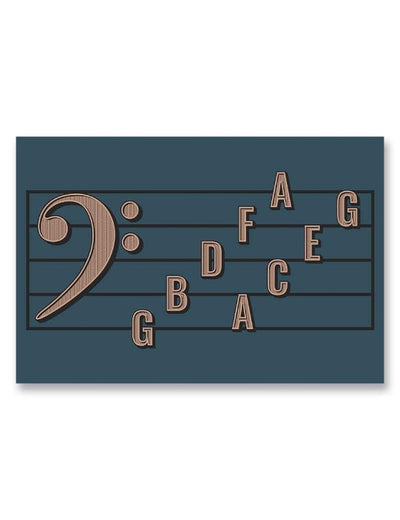 Bass Clef Note Names Poster Blue