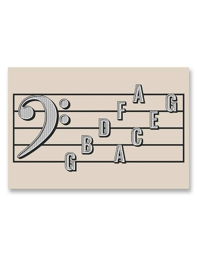Bass Clef Note Names Poster Cream