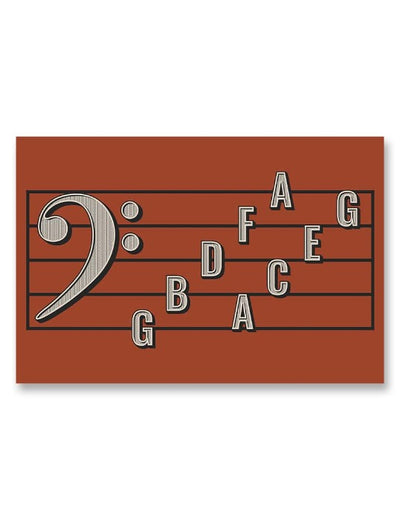 Bass Clef Note Names Poster Red