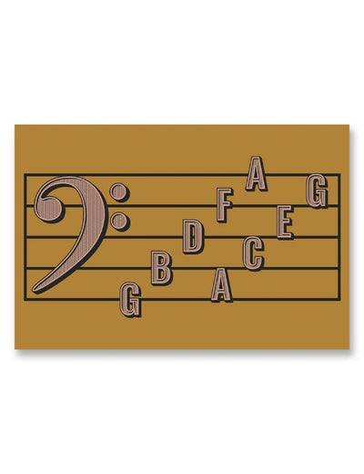 Bass Clef Note Names Poster Yellow