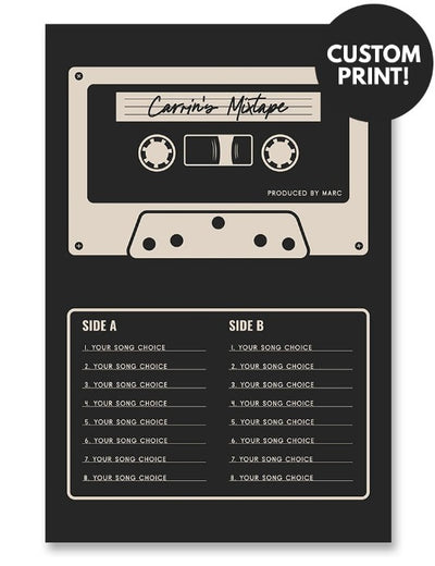Personalized Mixtape Cassette Poster Black