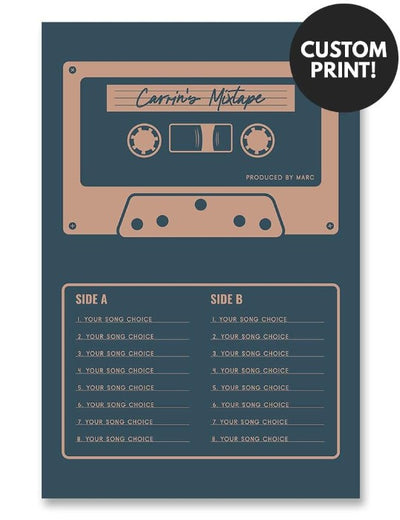 Personalized Mixtape Cassette Poster Blue