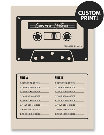 Personalized Mixtape Cassette Poster Cream
