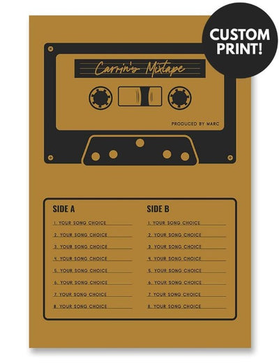 Personalized Mixtape Cassette Poster Yellow