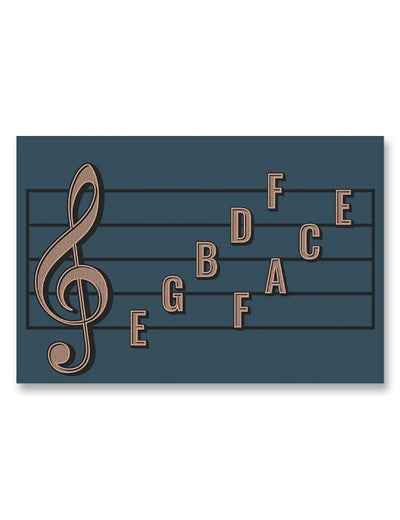 Treble Clef Note Names Poster Blue