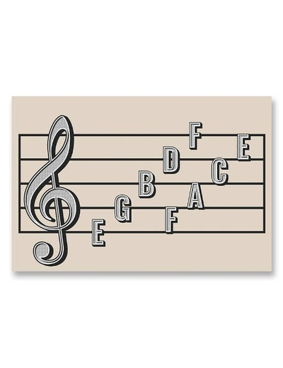 Treble Clef Note Names Poster Cream