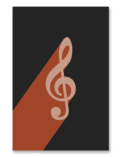 Treble Clef Music Poster Black