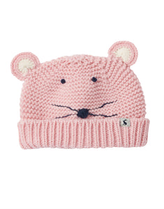 Pale Pink Mouse Baby Chummy Knitted Hat (0-24 Months)