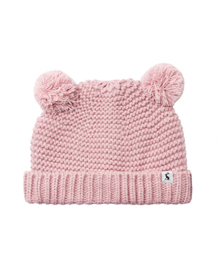 Pom Pom Knitted Hat- Cherry Blossom (0-24 Months)