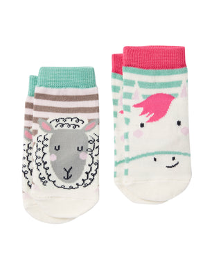 Pink Horse & Sheep Baby Socks (2 Pack)