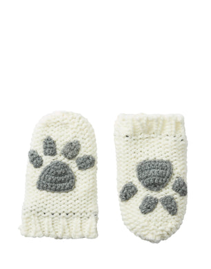 Paws Paw Print Baby Mittens- Cream  (6-24 Months)