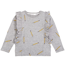 Load image into Gallery viewer, School Pencils Ruffled Sweater- Heather Grey