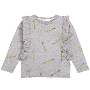 School Pencils Ruffled Sweater- Heather Grey