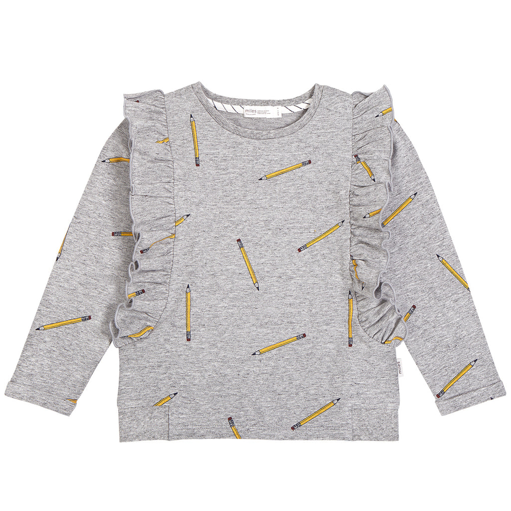 School Pencils- Heather Grey Ruffle Sweater