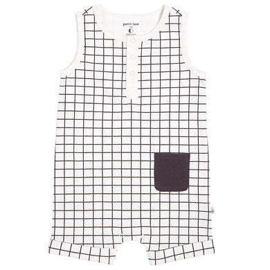 Organic Cotton Romper- Off White Window Pane