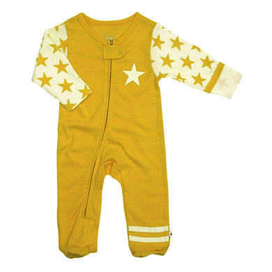 All-Star Zipper Footie (Organic Cotton & Azlon from Soy)- Mustard