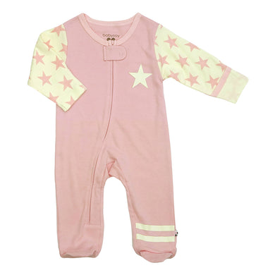 All-Star Zipper Footie (Organic Cotton & Azlon from Soy)- Peony