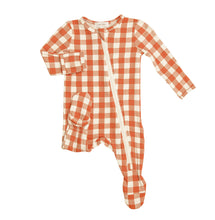 Load image into Gallery viewer, Gingham Pumkin- Zippered Footie  (0-24 Months)