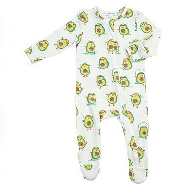 Avocado- Zippered Footie (0-24 Months)