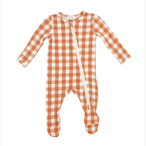 Gingham Pumkin- Zippered Footie  (0-24 Months)