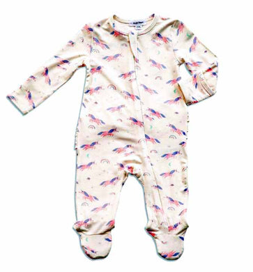 Cosmic Unicorn Zippered Footie with Ruffles