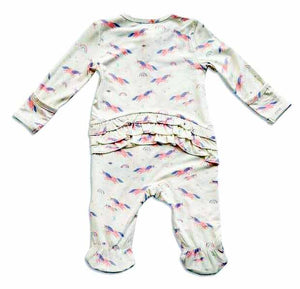 Cosmic Unicorn Zippered Footie with Ruffles (0-9 MONTHS)