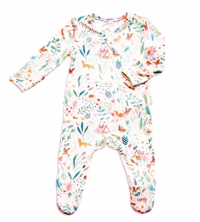 Woodland Floral Zipper Ruffle Footie