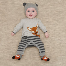 Load image into Gallery viewer, Cotton Cashmere Intarsia Romper- Baby Deer
