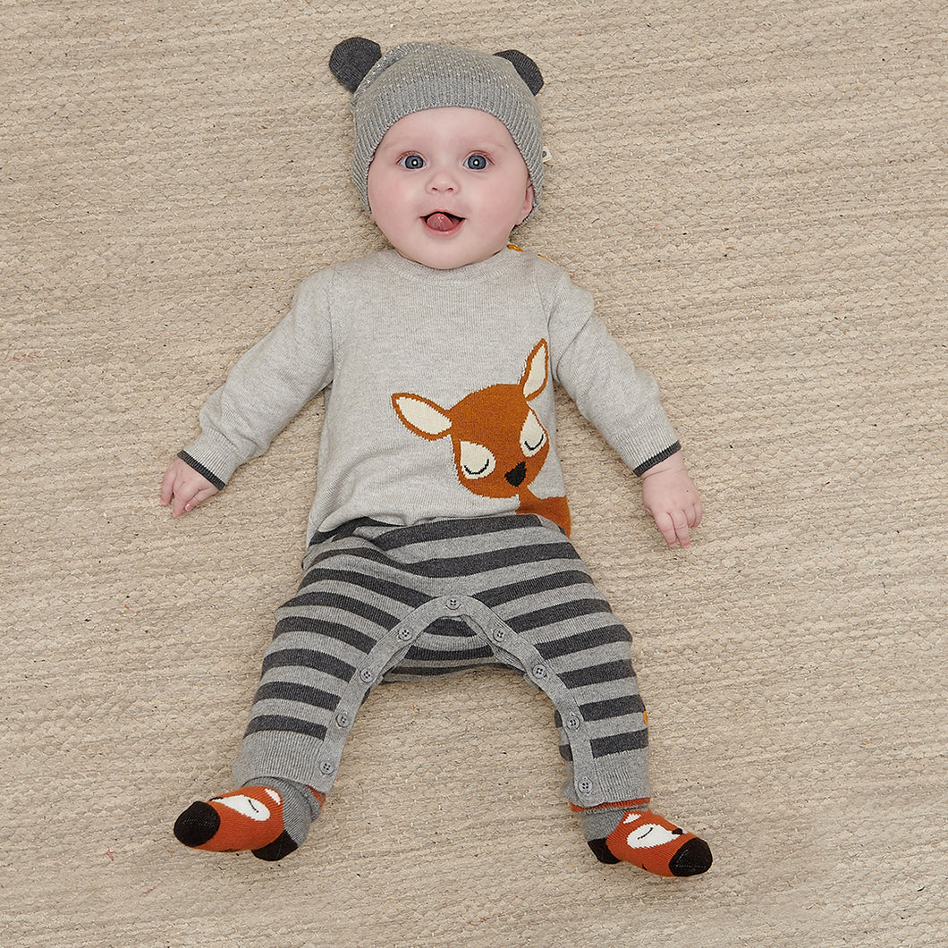 Cotton Cashmere Intarsia Romper- Baby Deer