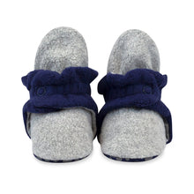 Load image into Gallery viewer, Zutano Baby Bootie- Fleece with Gripper (Gray/Navy)