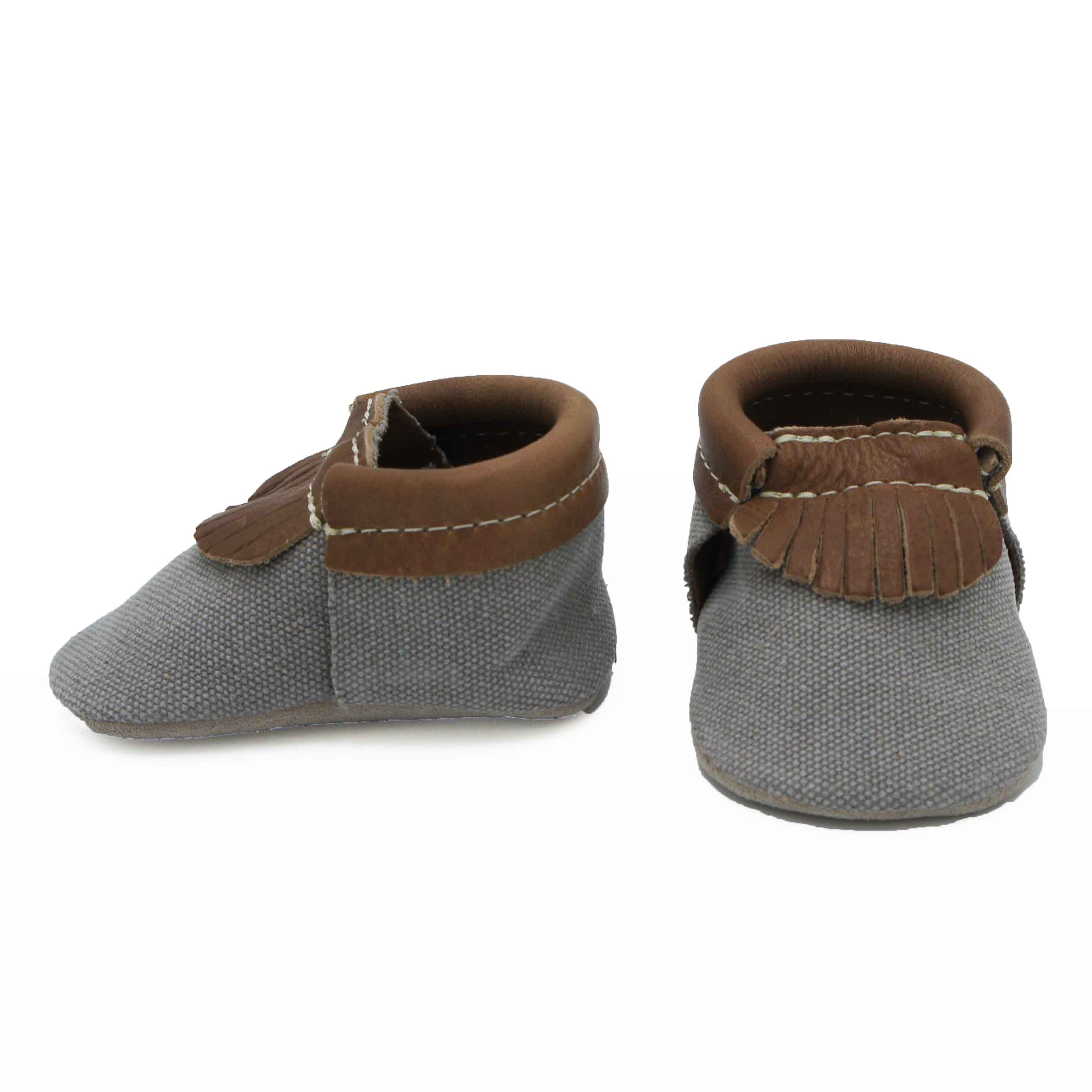 Gray Canvas Moccasin