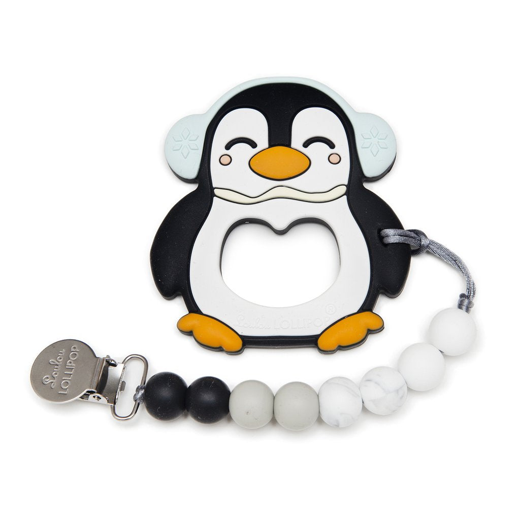 Black Penguin Silicone Teether w/ Clip