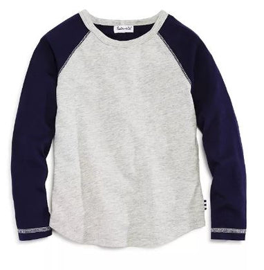 Two-Tone Raglan Tee (Heather Gray/Navy)