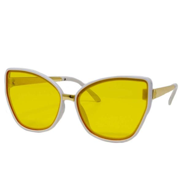 Cat Eyes Sunglasses- Yellow/White